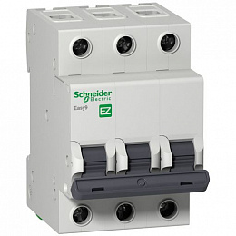 Автомат 3-полюсный 10А 4,5кА (хар-ка B) EASY 9 Schneider Electric. Вид 1