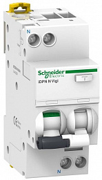 iDPN N Vigi Дифф. автомат 1P+N. 10A 30mA, тип AС, 6kA, (хар-ка B) Schneider Electric. Вид 1